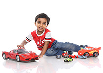 Child with cars