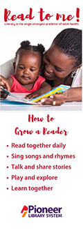 Bookmark featuring mother reading to child
