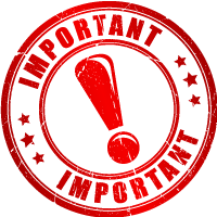 Important icon a red circle with red exclamation mark in the middle circled by the word important