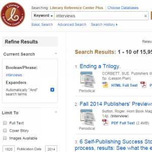 Literary Reference Center - EBSCOHost